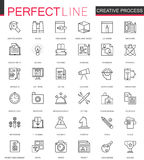 Creatieve geplaatste het Webpictogrammen van de proces dunne lijn Het ontwerp van het overzichtspictogram stock illustratie