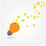 Creatieve gloeilamp, die teken bewaren, Stock Afbeeldingen