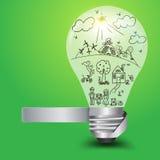 Vector Creatieve gloeilamp met gelukkig familie en ecologieconcept Stock Afbeeldingen