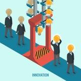 Creatieve gloeilamp met mensen, Zaken, Innovatie, Ideeconcept Stock Fotografie