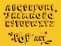 Creatieve grappige doopvont Alfabet in stijl van strippagina, pop-art Multilayer grappige gele 3d letters en cijfers, voor jonge  Stock Afbeelding