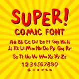 Creatieve grappige doopvont Alfabet in stijl van strippagina, pop-art Multilayer grappig rood & chocolade 3d letters en cijfers a Stock Foto