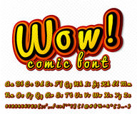 Creatieve grappige doopvont Vectoralfabet in stijlpop-art Stock Foto