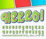 Creatieve grappige doopvont Vectoralfabet in stijlpop-art Stock Afbeelding