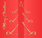 Creatieve groetkaart voor Nieuwjaar en Kerstmisvakantie, op een rode achtergrond, gouden Kerstboom Vector grafiek Royalty-vrije Stock Foto's
