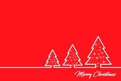 Creatieve groetkaart voor Nieuwjaar en Kerstmisvakantie, op een rode achtergrond, witte contourenkerstbomen Vector grafiek Royalty-vrije Stock Foto