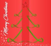 Creatieve groetkaart voor Nieuwjaar en Kerstmisvakantie, op een rode achtergrond, witte sneeuwvlokken Vector grafiek Stock Foto
