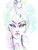 Creatieve hand geschilderde manierillustratie op wit Royalty-vrije Stock Afbeeldingen