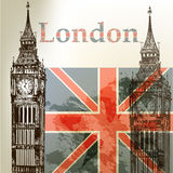 De vector conceptuele achtergrond van de kunst met Londen Big Ben en Englis Royalty-vrije Stock Afbeeldingen