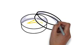 Creatieve handtekening van Petri-plaat op een witte raad royalty-vrije illustratie