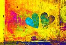 Creatieve harten Dubbele blootstelling, heldere multi-colored achtergrond Royalty-vrije Stock Fotografie