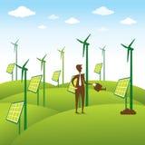 Creatieve hernieuwbare energiebron of mensen die water geven aan windmolen of zonnepaneel Royalty-vrije Stock Foto's