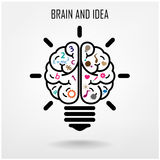 Creatieve het conceptenachtergrond van het hersenenidee Stock Afbeelding