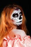 Creatieve het portretbloem van de gezichtsverf Dag van de Dode personen Stock Afbeeldingen