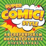 Creatieve hoge detail grappige doopvont Alfabet in de stijl van strippagina, pop-art Stock Foto's