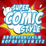 Creatieve hoge detail grappige doopvont Alfabet in stijl van strippagina, pop-art Letters en cijfers voor decoratie van jonge gei Royalty-vrije Stock Afbeelding