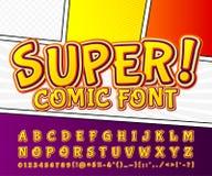 Creatieve hoge detail grappige doopvont Alfabet, strippagina, pop-art Royalty-vrije Stock Afbeelding