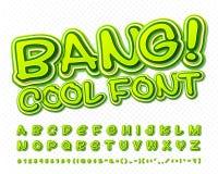 Creatieve hoge detail groene grappige doopvont Alfabet Stock Afbeelding