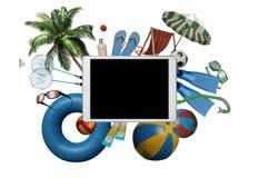 Creatieve hoogste mening van tabletpc met de toebehoren van de strandzomer Stock Afbeelding