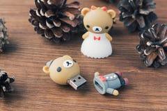 Creatieve houten usbstok zoals een teddybeer op achtergrond Royalty-vrije Stock Afbeelding