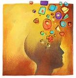 Creatieve ideeën - abstract kleurrijk hoofdsymbool stock afbeeldingen
