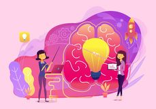 Creatieve idee bedrijfsgroepswerkvector met hersenen en lampillustratie stock illustratie