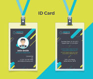 Creatieve Identiteitskaart Zwarte Blauwe Kleur stock afbeeldingen