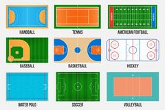 Creatieve illustratie van de gebieden van het sportspel merken ge?soleerd op achtergrond Grafisch element voor handbal, tennis, A royalty-vrije illustratie