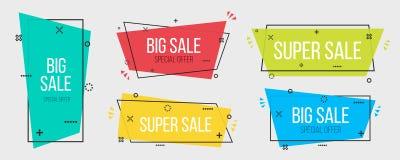 Creatieve illustratie van geometrische banners Levendige transparant van het kunstontwerp In vlakke affiche Groen, blauw abstract Royalty-vrije Stock Afbeeldingen