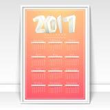 Creatieve Jaarlijkse Kalender voor 2017 Stock Foto's