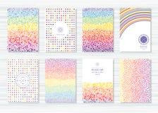 Creatieve kaarten met patronen van gekleurde bellen en lijnen Royalty-vrije Stock Fotografie