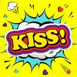 Creatieve kleurrijke affiche met de van letters voorziende kus Stock Afbeeldingen