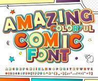 Creatieve kleurrijke grappige doopvont Strippaginaboek, pop-art Royalty-vrije Stock Foto