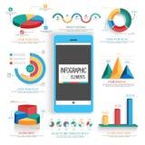 Creatieve kleurrijke infographic geplaatste elementen Stock Fotografie