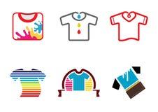 Creatieve Kleurrijke T-shirts Logo Design Illustration Stock Foto