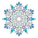 Creatieve lay-out van juwelen Mandala wordt gemaakt van verschillende halfedelstenen op wit Stock Fotografie