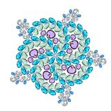 Creatieve lay-out van juwelen Mandala wordt gemaakt van verschillende halfedelstenen op wit Royalty-vrije Stock Foto