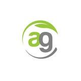 Creatieve letter AG met embleem van het cirkel het groene blad Stock Foto's