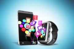 Creatieve mobiele connectiviteit en bedrijfsmobiliteits draadloze comm royalty-vrije illustratie