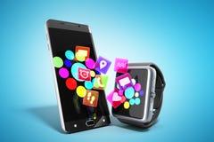 Creatieve mobiele connectiviteit en bedrijfsmobiliteits draadloze comm vector illustratie