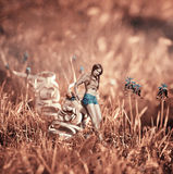 Creatieve mooie beeldcollage met een meisje dichtbij de schoen Royalty-vrije Stock Foto