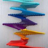 Creatieve Multicolored 3D Ladder op Grey Background Royalty-vrije Stock Afbeeldingen