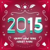Creatieve Nieuwjaren Vooravond en Vrolijk KERSTMIS Vectormalplaatje 2015 de Illustratieontwerp van NYE Vector EPS10 Stock Fotografie