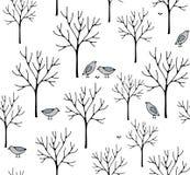 Creatieve noordse stijlillustratie met de winterbos vector illustratie
