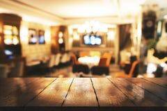 Creatieve onscherpe restaurantachtergrond Stock Foto