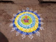 Creatieve Rangoli, kleurrijk, ontwerp Diwali Stock Foto's