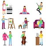 Creatieve reeks van volwassen mensen en hun hobbys Het koken, het schilderen, het spelen gitaar en baarzen, borduurwerk, het brei vector illustratie
