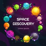 Creatieve ruimteachtergrond met planeten van de beeldverhaal de kleurrijke fantasie De achtergrond van het astronomieconcept royalty-vrije illustratie