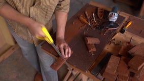 Creatieve timmerman die houten materiaal controleren verdere verwerking stock video