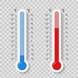 Creatieve vectordieillustratie van Celsius, Fahrenheit-de schaal van meteorologiethermometers op achtergrond wordt geïsoleerd Hit Stock Foto's